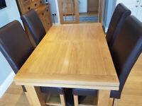 Oak Extendable Dining Table and 4 Chairs