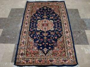 Exclusive Royal Blue Floral Oriental Area Rug Hand Knotted Wool Silk Carpet (5 X 3)'