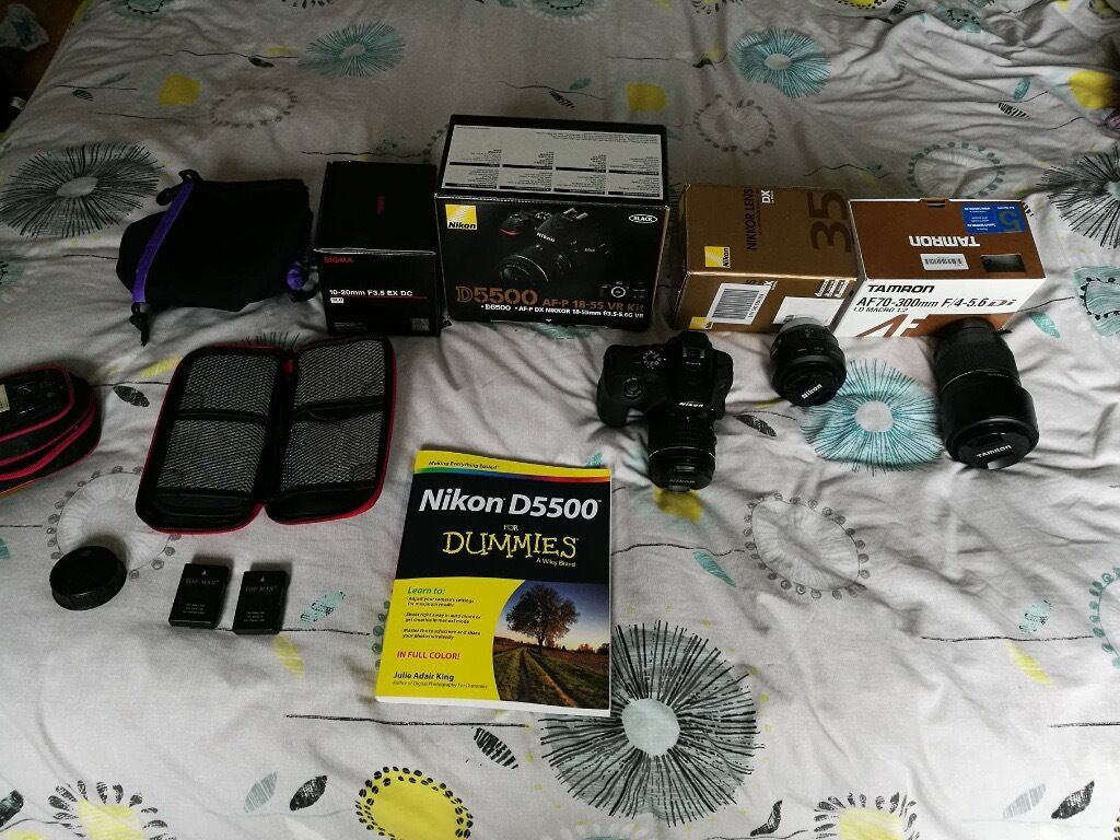 Nikon d55004 Lens bundle packUltimate start up packagein Mountain Ash, Rhondda Cynon TafGumtree - Hi there Im selling my nikon d5500 and lenses. They come as a big bundle which will sort you out if you wanna get into photography lads ! For sale I have a wide angle sigma 10 20mm A Tamron zoom lens 70 300. A lot of zoom power Nikon 35mm 1.8 my...