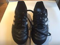 GRASS FOOTBALL SHOES ADIDAS SIZE UK 7 (1 USE) + NEW SHIN PADS