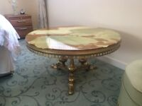 Marble top round coffee table (90cm diameter) with gold legs. Excellent condition.