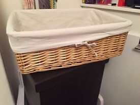 Large Rectangular Beech Rattan Wicker Storage Basket & White Removable, Washable Cloth