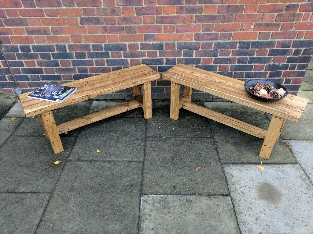 Rustic wooden 3 seater dining benches x 2. Handcrafted seating, reclaimed wood.