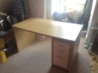 Wooden IKEA desk with a set of 3 draws. Can be sold separately or as a pair