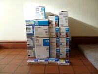 Job lot of printer consumables - mostly original HP laser toners and an imaging drum. All brand new.
