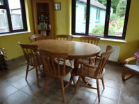 Oval pine table and chairs