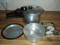 Prestige Pressure Cooker- with built in timer plus accessories and manual/recipe book
