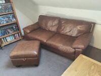 Two leather three seater sofas w/ footstool