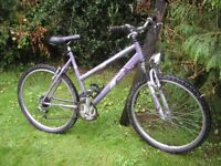 ladies raleigh mantis,front suspension 19 in frame,runs perfectly