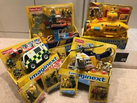 Imaginext toy bundle with helicopter, ambulance, rescue boat and submarine
