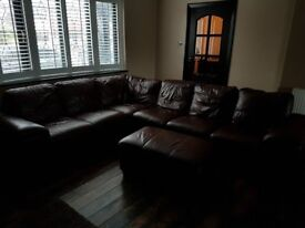 Brown leather 6 seater corner suite good condition buyer collects