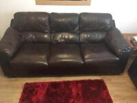 Soft brown leather sofas 3 seater and a 2 seater