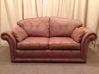 2 Seater Sofa - Luxurious Gold & Plum Pattern Fabric