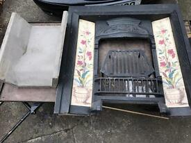 Victorian Fire Place inset with new back and new oak surround