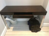 Dark wood and metal console table