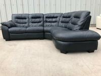 Black leather Italian corner sofa (SAME DAY DELIVERY AVAILABLE) ask for cost