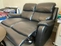 Toby 2 Seat Faux Leather Recliner Black Sofa