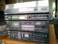 Vintage Sony Music Centre consisting of Stereo Turntable 33/45 :Radio Tuner : Tape Deck : Amplifier.