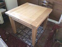 "New solid oak ""FLIP OVER"" extending dining room table, 92cm x 92cm & when extended 184cm x 92cm"