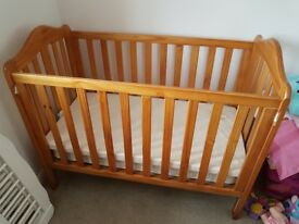 Baby cot with mattress for quick sale - good condition