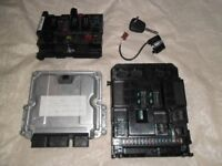 Peugeot 307 complete engine management ECU & fuse board with transponder ring and one remote key