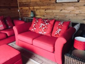 3 seater DFS Sofa + Matching 2 Seater Bed Sofa + Matching Footstall/Storage + Matching Accesories