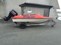 Boat trailer and outboard for sale