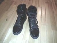 Black high top shinny shoes