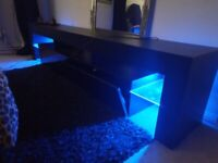 Tv unit console table with blue LED lights