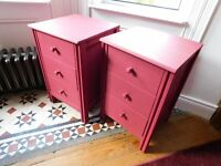 Two Funky Red Solid Wood Bedside Tables