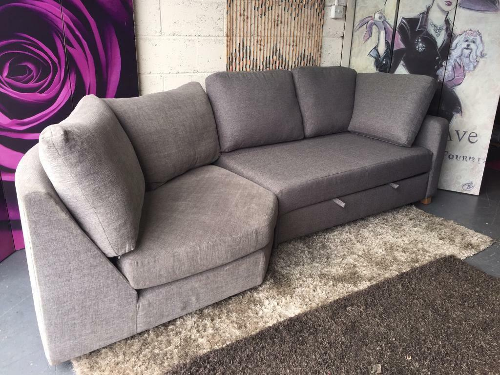 New Two Tone Grey Fabric Curve Corner Sofa With Pull Out Sofabed