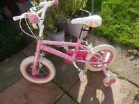 Little Girls Pink 'Princess' Bike with stablisers - excellent condition Age 3 upwards