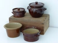 Pearsons of Chesterfield 2 Vintage Treacle Glaze Stoneware Casserole Dishes & 2 others