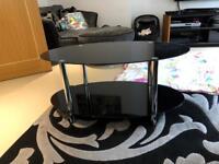 Modern Black Glass & Chrome Oval Living Room Coffee Table With 1 Shelf