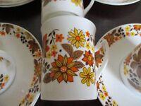 Vintage Retro - 60's/70's colours - coffee set - 6 cups, 6 saucers