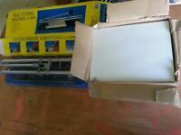 Tile Cutting Machine & 18 White Wall Tiles