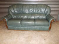 Green Italian Leather 3-1-1 Suite (Sofa)