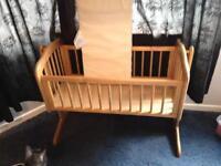 Wooden swinging crib with John Lewis mattress
