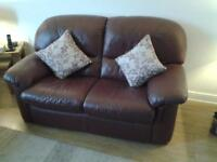 RED LEATHER 3SEATER SOFA = 2 SEATER SOFA, 2 CHAIRS, 1 FOOTSTOOL