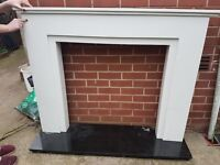White Marble Fire Surround, Granite Hearth and Cast Iron Fireplace and Gas Fire