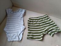 Tiny Baby Set Joblot Bundle Karki Vest Top and Shorts M&S Nutmeg