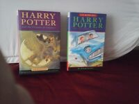 2 harry potter hard back books. early printer editions