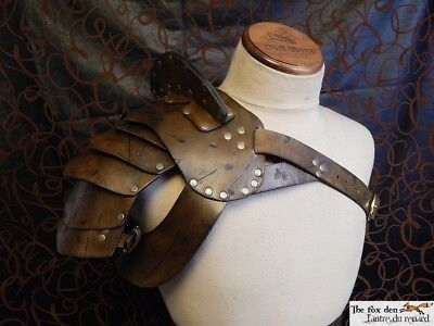 Gladiator spartacus leather shoulder armor with neck guard, high quality! LARP