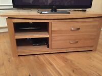 Solid oak wide screen tv unit