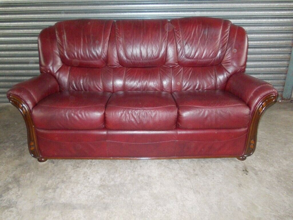 Cool Burgundy Italian Leather 3 Seater Sofa Suite With Matching Armchair In Newry County Down Gumtree Machost Co Dining Chair Design Ideas Machostcouk