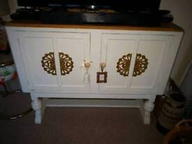 Solid vintage pine sideboard fully refurbished in Annie Sloane old white with stripped top