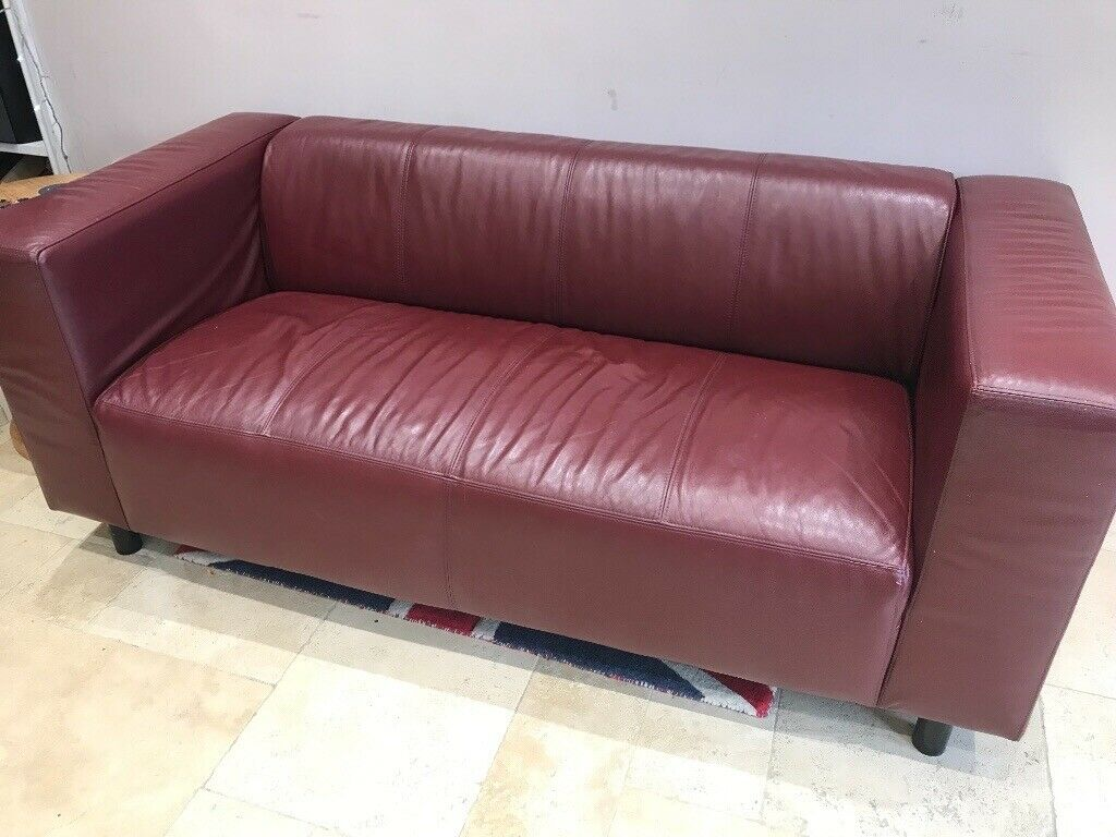 Dark red leather sofa | in Ipswich, Suffolk | Gumtree