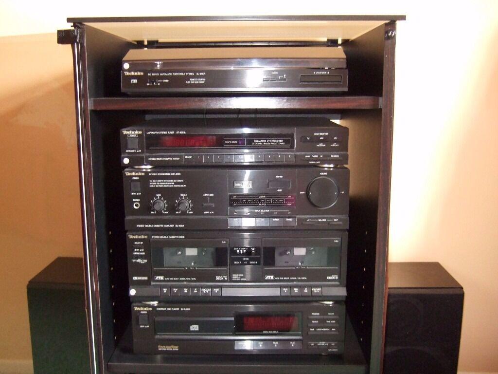 Technics Music System, speakers and cabinet. Turntable, radio ...