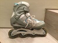 SFR Brooklyn Inline skates/rollerblades, blue/white superb condition, size 6