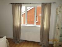 Pair of Ikea beige linen curtains